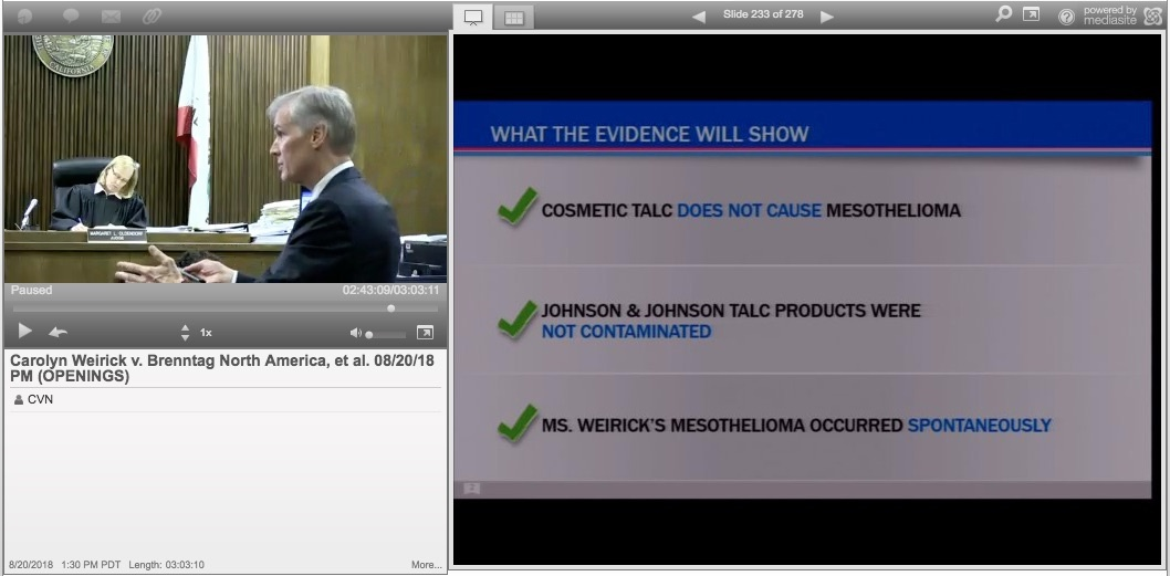 Sixth Johnson Johnson Talc Powder Mesothelioma Trial Begins In California